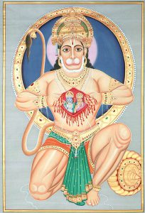 Hanuman tears open his chest to reveal Lord Rama and Sita